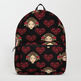 Beautiful faces of boho girl dolls, pretty red floral hearts feminine artistic elegant black pattern Backpack