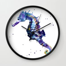 Seahorse painting, seahorse, seahorse illustration, beach lover gift, ocean lover art Wall Clock