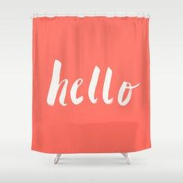 Hello x Coral Script Shower Curtain