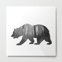 Bear Silhouette | Forest Photography Metal Print