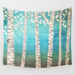 Turquoise birch forest Wall Tapestry