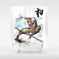 airbender Shower Curtains featuring Aang from Avatar the Last Airbender sumi/watercolor by mycks