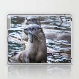 Otters Having Breakfast on the River Laptop & iPad Skin