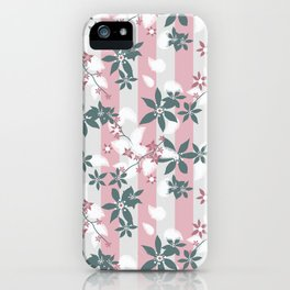 Gray pink floral pattern iPhone Case