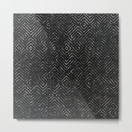 Abstract Geometric Tile Pattern in Black Metal Print