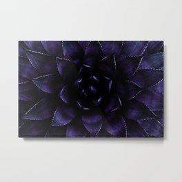 Deep Indigo Blue Succulent Metal Print