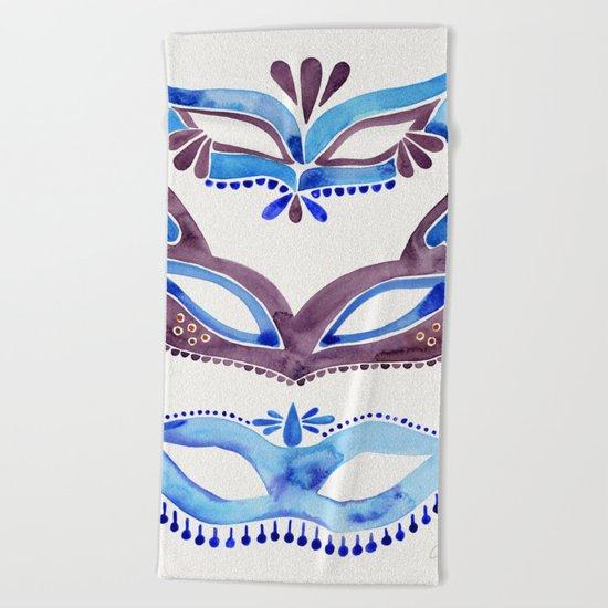 Masquerade Mask Trio – Navy & Grey Palette Beach Towel