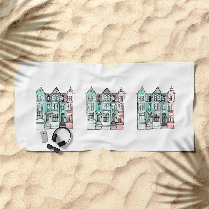 DC Row House No. 2 II U Street Beach Towel