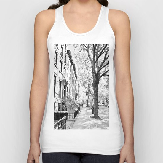 Cobble Hill Brooklyn Winter Black and White Brownstone Unisex Tank Top
