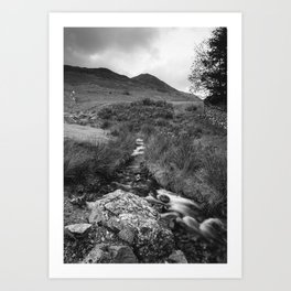 Cinnerdale Beck above Crummock Water with Whiteless Pike beyond. Lake District, UK. Art Print
