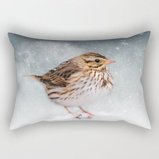 Snow Sparrow Rectangular Pillow
