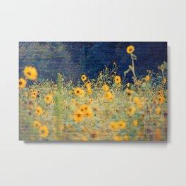 Vagabond Ways -- Summer Rustic Textured Floral Botanical Landscape Sunflowers Metal Print