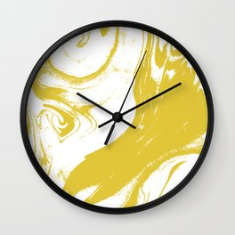 Suminagashi 1 gold marble spilled ink ocean swirl watercolor painting marbled pattern Wall Clock