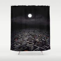 labyrinth Shower Curtains featuring Labyrinth  by Richard J. Bailey