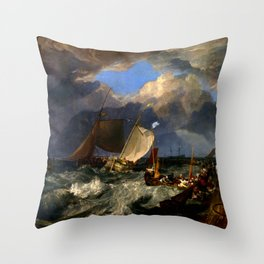 "J.M.W. Turner ""Calais Pier"" Throw Pillow"