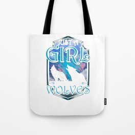 Cute Just A Girl Who Loves Wolves Tote Bag