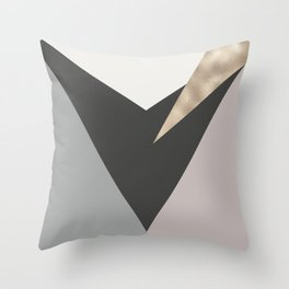 Abstract geometrical faux gold black gray triangles pattern Throw Pillow