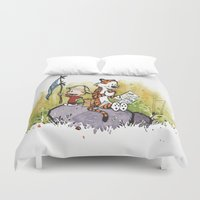 hobbes Duvet Covers featuring Calvin n hobbes by TEUFEL_STRITT666