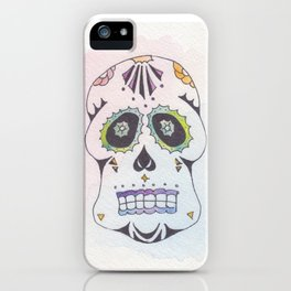 Watercolor Skull in Blue iPhone Case