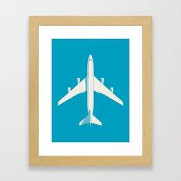 747-400 Jumbo Jet Airliner Aircraft - Cyan Framed Art Print