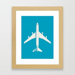 747-400 Jumbo Jet Airliner Aircraft - Cyan Framed Art Print
