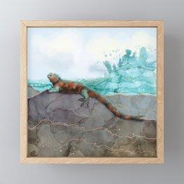 Marine Iguana on the Seashore - Galapagos Endangered Animal Framed Mini Art Print