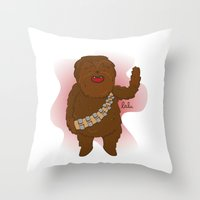 chewbacca Throw Pillows featuring chewbacca by Lalu - Laura Vargas