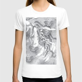 Butterflies in a gray abstract landscape T-shirt