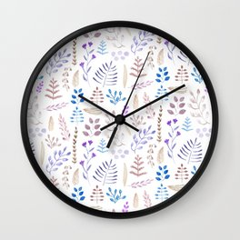 Winter leaves in violet and white Wall Clock