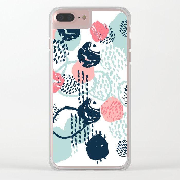 Mellie - abstract minimal modern art print painted boho hipster gender neutral canvas art Clear iPhone Case
