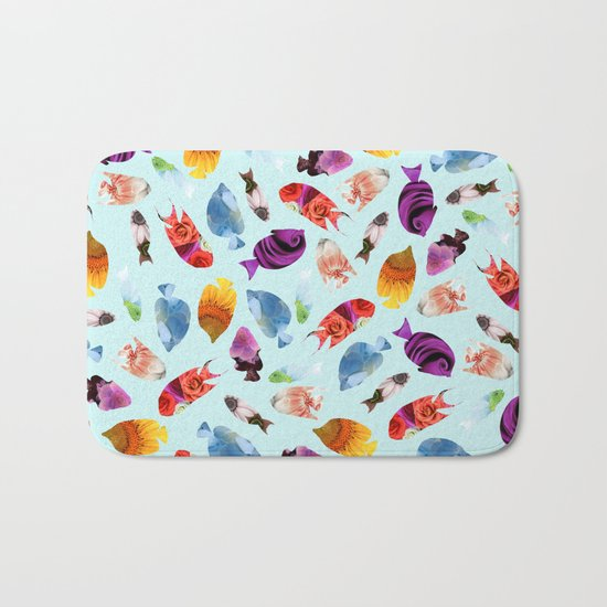 Fish shaped Flowers Bath Mat
