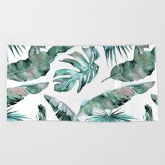Tropical Palm Leaves Blue Green on White Beach Towel