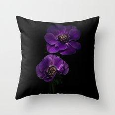 Two Purple Anemones Throw Pillow