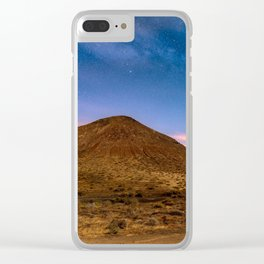 Volcano under night sky Clear iPhone Case