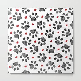 Seamless black paw print with red hearts Metal Print