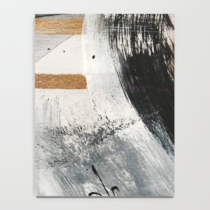 Armor [7]: a bold minimal abstract mixed media piece in gold, black and white Notebook