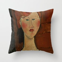 """Amedeo Modigliani """"Femme aux cheveux rouge (Woman with Red Hair)"""" Throw Pillow"""