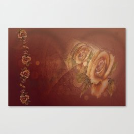 Abstract VintageBronze Roses Canvas Print