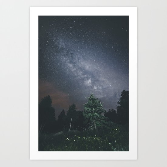 Milky way night sky Art Print
