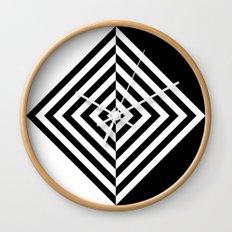 Black and White Concentric Diamonds Wall Clock