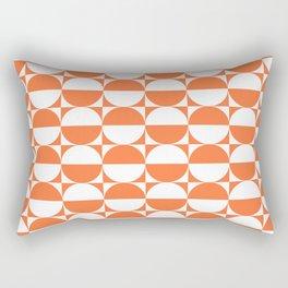 Mid Century Modern Half Circles Pattern Orange Rectangular Pillow