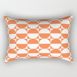 Mid Century Modern Half Circles Pattern Orange Rectangular Pillow