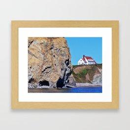 Cliffside Coastal Home Framed Art Print