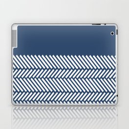 Herringbone Boarder Navy Laptop & iPad Skin