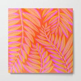 Hot Tropics - Orange Pink Tropical Vines Metal Print