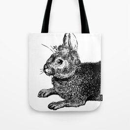 The Rabbit and Roses | Black and White Tote Bag