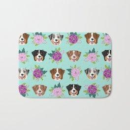 Australian Shepherd dog breed dog faces cute floral dog pattern Bath Mat
