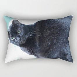 Simon the Black Halloween Sanctuary Cat Rectangular Pillow