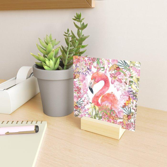 Flamingo in Tropical Flower Jungle Mini Art Print