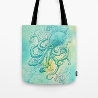 kraken Tote Bags featuring Kraken by pakowacz